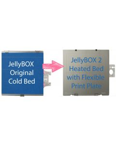 JellyBOX 1 bed upgrade: From cold bed  JellyBOX 1 to the heated bed JellyBOX 2 with flexible print plate. Includes power supply.